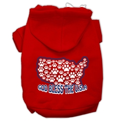 Mirage Pet Products God Bless USA Screen Print Pet Hoodies Red Size XXXL(20)