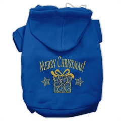 Mirage Pet Products Golden Christmas Present Pet Hoodies Blue Size XL (16)