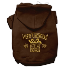 Mirage Pet Products Golden Christmas Present Pet Hoodies Brown Size Sm (10)