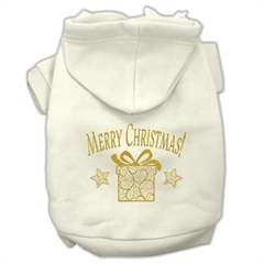 Mirage Pet Products Golden Christmas Present Pet Hoodies Cream Size Sm (10)
