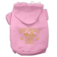Mirage Pet Products Golden Christmas Present Pet Hoodies Light Pink Size XXL (18)
