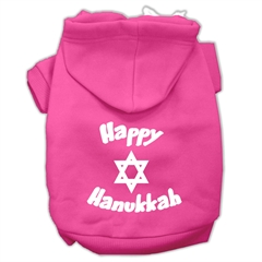 Mirage Pet Products Happy Hanukkah Screen Print Pet Hoodies Bright Pink Size XXL (18)