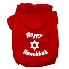 Mirage Pet Products Happy Hanukkah Screen Print Pet Hoodies Red Size XXXL (20)