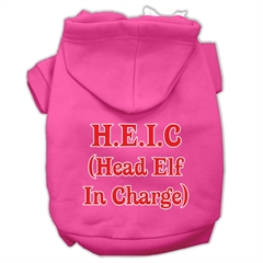 Mirage Pet Products Head Elf In Charge Screen Print Pet Hoodies Bright Pink Size Sm (10)