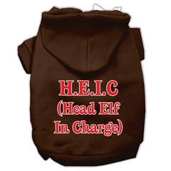 Mirage Pet Products Head Elf In Charge Screen Print Pet Hoodies Brown Size Lg (14)