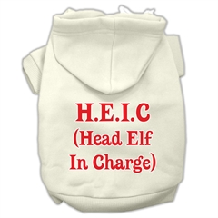 Mirage Pet Products Head Elf In Charge Screen Print Pet Hoodies Cream Size XL (16)
