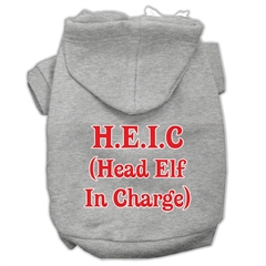 Mirage Pet Products Head Elf In Charge Screen Print Pet Hoodies Grey Size Sm (10)