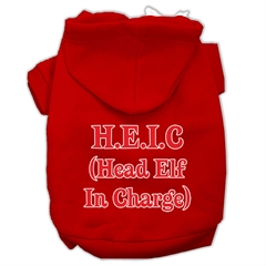Mirage Pet Products Head Elf In Charge Screen Print Pet Hoodies Red Size XXXL (20)