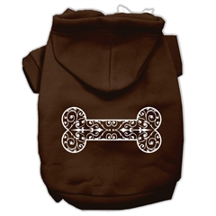 Mirage Pet Products Henna Bone Screen Print Pet Hoodies Brown Size Sm (10)