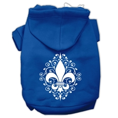 Mirage Pet Products Henna Fleur de Lis Screen Print Pet Hoodies Blue Size Lg (14)
