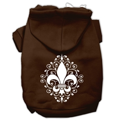 Mirage Pet Products Henna Fleur de Lis Screen Print Pet Hoodies Brown Size Lg (14)