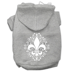 Mirage Pet Products Henna Fleur De Lis Screen Print Pet Hoodies Grey Size Sm (10)