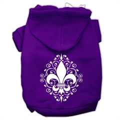 Mirage Pet Products Henna Fleur De Lis Screen Print Pet Hoodies Purple Size XXL (18)