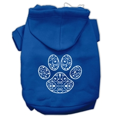Mirage Pet Products Henna Paw Screen Print Pet Hoodies Blue Size Med (12)