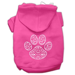 Mirage Pet Products Henna Paw Screen Print Pet Hoodies Bright Pink Size Lg (14)