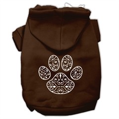 Mirage Pet Products Henna Paw Screen Print Pet Hoodies Brown Size Sm (10)