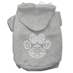 Mirage Pet Products Henna Paw Screen Print Pet Hoodies Grey Size XXXL (20)