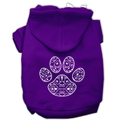Mirage Pet Products Henna Paw Screen Print Pet Hoodies Purple Size XXL (18)