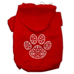 Mirage Pet Products Henna Paw Screen Print Pet Hoodies Red Size XS (8)