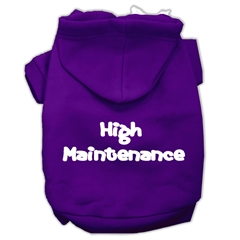Mirage Pet Products High Maintenance Screen Print Pet Hoodies Purple Size L (14)