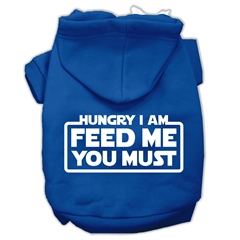 Mirage Pet Products Hungry I Am Screen Print Pet Hoodies Blue Size Med (12)