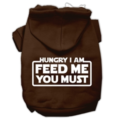 Mirage Pet Products Hungry I Am Screen Print Pet Hoodies Brown Size Sm (10)