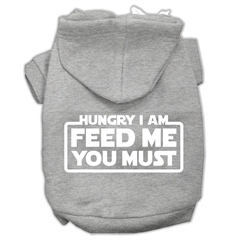 Mirage Pet Products Hungry I am Screen Print Pet Hoodies Grey Size Sm (10)