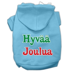 Mirage Pet Products Hyvaa Joulua Screen Print Pet Hoodies Baby Blue XL (16)