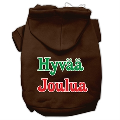 Mirage Pet Products Hyvaa Joulua Screen Print Pet Hoodies Brown XXXL(20)