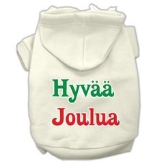Mirage Pet Products Hyvaa Joulua Screen Print Pet Hoodies Cream Size M (12)
