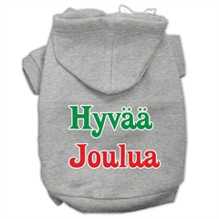 Mirage Pet Products Hyvaa Joulua Screen Print Pet Hoodies Grey L (14)