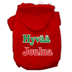 Mirage Pet Products Hyvaa Joulua Screen Print Pet Hoodies Red Size XXXL(20)