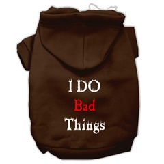 Mirage Pet Products I Do Bad Things Screen Print Pet Hoodies Brown S (10)