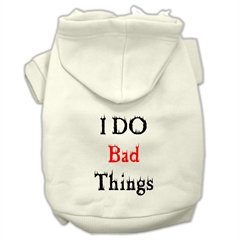 Mirage Pet Products I Do Bad Things Screen Print Pet Hoodies Cream Size XL (16)