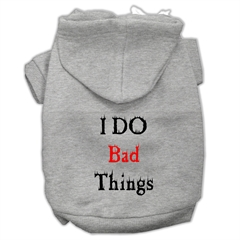 Mirage Pet Products I Do Bad Things Screen Print Pet Hoodies Grey S (10)