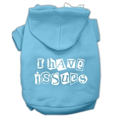 Mirage Pet Products I Have Issues Screen Printed Dog Pet Hoodies Baby Blue Size Lg (14)