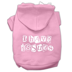 Mirage Pet Products I Have Issues Screen Printed Dog Pet Hoodies Light Pink Size Sm (10)