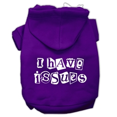 Mirage Pet Products I Have Issues Screen Printed Dog Pet Hoodies Purple Size Lg (14)