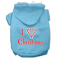 Mirage Pet Products I Heart Christmas Screen Print Pet Hoodies Baby Blue Size XXXL (20)