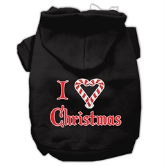 Mirage Pet Products I Heart Christmas Screen Print Pet Hoodies Black Size XL (16)