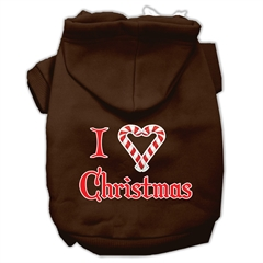 Mirage Pet Products I Heart Christmas Screen Print Pet Hoodies Brown Size Sm (10)
