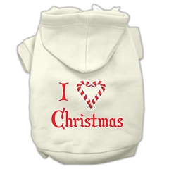 Mirage Pet Products I Heart Christmas Screen Print Pet Hoodies Cream Size Sm (10)
