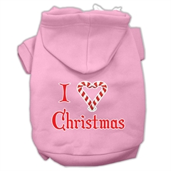 Mirage Pet Products I Heart Christmas Screen Print Pet Hoodies Light Pink Size XL (16)