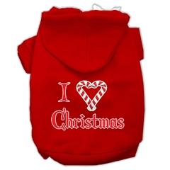 Mirage Pet Products I Heart Christmas Screen Print Pet Hoodies Red Size XL (16)