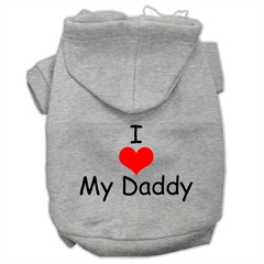 Mirage Pet Products I Love My Daddy Screen Print Pet Hoodies Grey Size Sm (10)