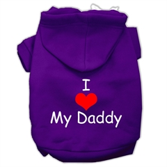 Mirage Pet Products I Love My Daddy Screen Print Pet Hoodies Purple Size Sm (10)
