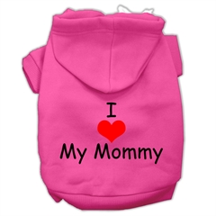 Mirage Pet Products I Love My Mommy Screen Print Pet Hoodies Bright Pink Size Lg (14)