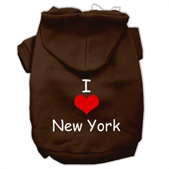 Mirage Pet Products I Love New York Screen Print Pet Hoodies Brown Size Med (12)