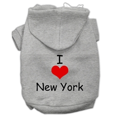 Mirage Pet Products I Love New York Screen Print Pet Hoodies Grey Size Lg (14)
