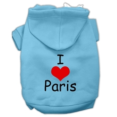 Mirage Pet Products I Love Paris Screen Print Pet Hoodies Baby Blue Size Sm (10)